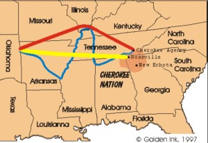 Cherokee Trail of Tears Memorial. map-legendsof america.com