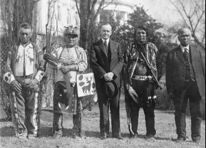 Four Osage men with U.S president Calvin Coolidge after signing the Indian Citizenship Act of 1924, which granted Indians across the country full citizenship for the first time. wikipedia